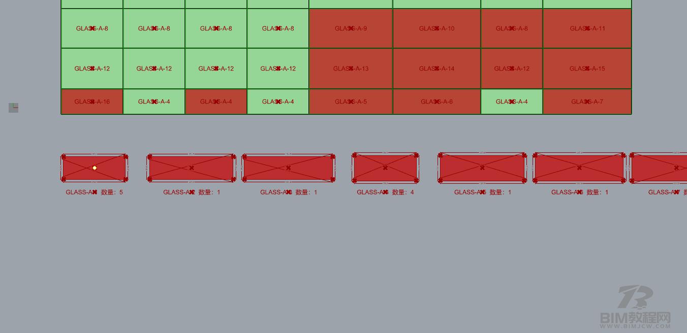 Grasshopper自动统计标注幕墙分格电池2